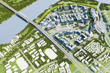 3d render of modern city, aerial view Fotomurales