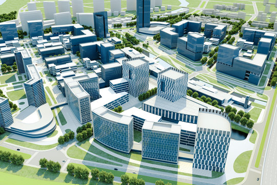 3d render of modern city, aerial view