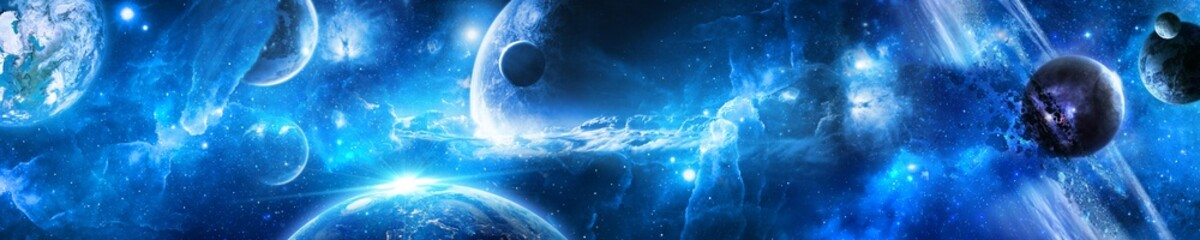 планеты в космосе среди звезд и туманностей Wall mural