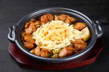 Korean grilled chicken with cheese Dak Galbi
