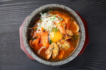 Korean sea food soft tofu stew