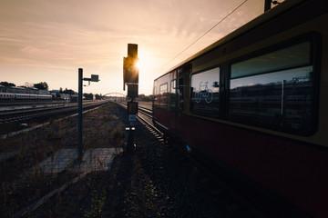 Regional train in Berlin, Germany with green light
