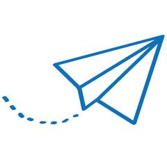 Handgezeichneter Papierflieger in dunkelblau