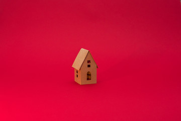 Paper Home, red background with copy space, for advertising, close up