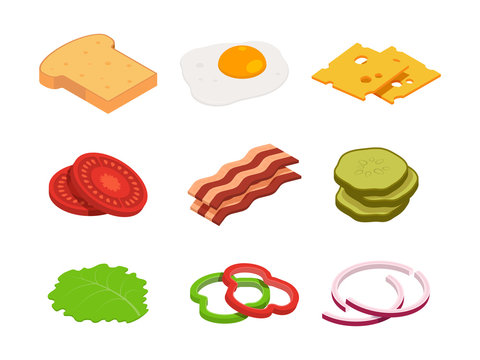 Sandwich isometric. Constructor of food with various ingredients. Sandwich food, cheese and tomato for hamburger, lunch bread for cheeseburger illustration