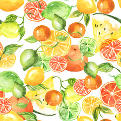 Vintage seamless pattern with watercolors - from tropical fruit, citrus spray, 