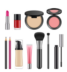 Cosmetics for women. Vector pictures of various cosmetics packages. Illustration of make up, foundation cream and brush for cosmetic product