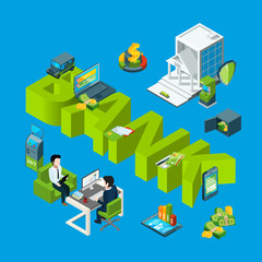 Vector isometric money flow in bank icons infographic concept illustration. Finance money bank, banking 3d business