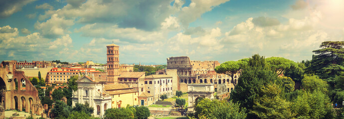 Panoramic view of Rome with the Colosseum and the Roman Forum, Europe