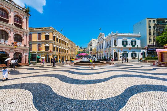 China, Macau - September 6 2018 - Beautiful old architecture building around senado square in macau city