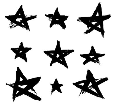 Set of hand drawn stars. Black and white  brush and grunge style. JPG include isolated path