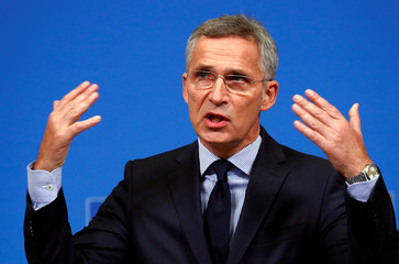 NATO Secretary-General Stoltenberg addresses a news conference at the Alliance headquarters in Brussels