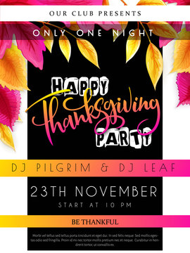 Vector illustration of thanksgiving party poster with hand lettering label - happy thanksgiving - with bright autumn leaves