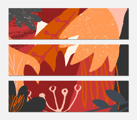 Abstract Autumn Leaves Banner Design