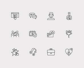 Customer service icons set. Export and customer service icons with event, ecommerce and face. Set of voting for web app logo UI design.
