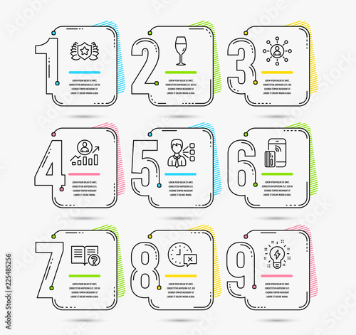 infographic template with numbers 9 options set of time third