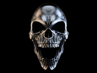 Screaming silver demon skull