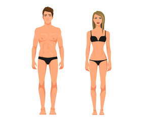 Vector illustration of men in underwear and girl with blonde hair in underwear on the white background. Flat people illustation. Flat young couple. Front view people, Side view people