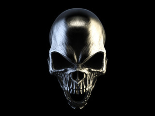 Screaming silver angry demon skull