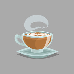 Coffee glass cup with flat white coffee and steam. Milk cream foam in top and heart draw. Cartoon retro style. Vector illustration for cafe and restaurant menu design.