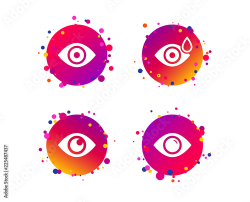 Eye icons  Water drops in the eye symbols  Red eye effect