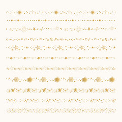 Set of golden starry borders. Star frames. Hand drawn design elements.