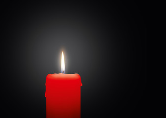 Red Candle with Bright Light Effect on Black Background - Graphic Illustration!