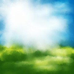 Watercolor Background - Blue Sky With Bright Sunlight Effekt and Green Bushes