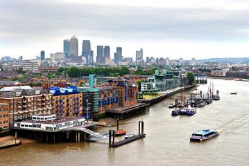 London Skyline Canary Wharf and The River Thames England