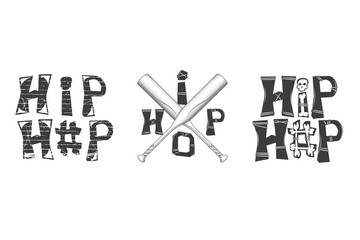 set of graphic elements in rap style. hip-hop inscription with bones. crossed baseball bats. isolated on white background
