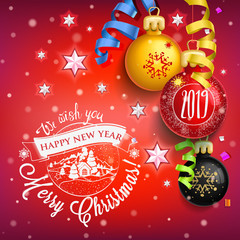 2019 New year & Merry Christmas symbol on red background with Christmas toys, star, candy, sweets and symbols winter holidays. Decoration poster card holiday background. Winter.