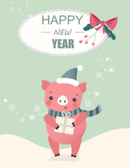Happy New Year 2019 card with cute pig - symbol of the year.