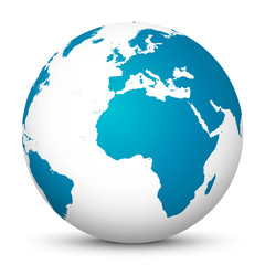 White 3D Vector Globe with Blue Continents on White Background - Planet Earth.