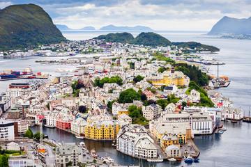 Garden Poster Scandinavia Alesund aerial panoramic view