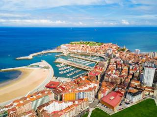 Gijon city marina in Asturias, Spain