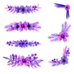 Lilac and pink watercolor compositions of flowers and plant elements. The position, corners.