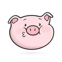 Kissing emoticon icon. Emoji pig is sending a kiss