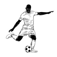 Hand drawn sketch of footballer in black isolated on white background. Detailed vintage style drawing. Illustration for posters and print