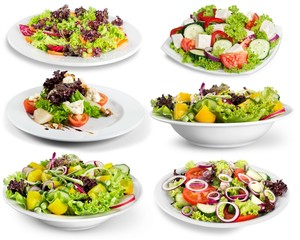 Wall Mural - Different kinds of salads on background