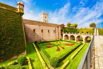 Foto auf AluDibond Barcelona Montjuic Castle in Barcelona, Spain