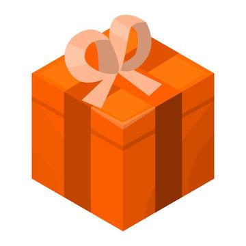 Orange gift box icon. Isometric of orange gift box vector icon for web design isolated on white background