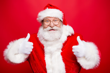 Stylish aged Santa with beard in noel costume spectacles white g