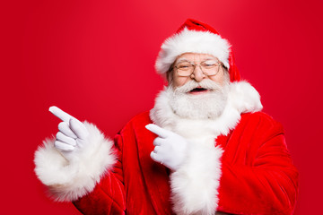 Funky rejoice stylish Santa in costume gloves headwear and spect