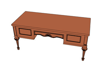 brown writing desk vector