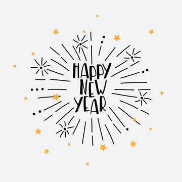 Hand Drawn Happy New Year Greeting Card with vector firework