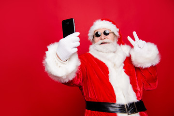 Stylish trendy grandfather aged mature Santa tradition winter co