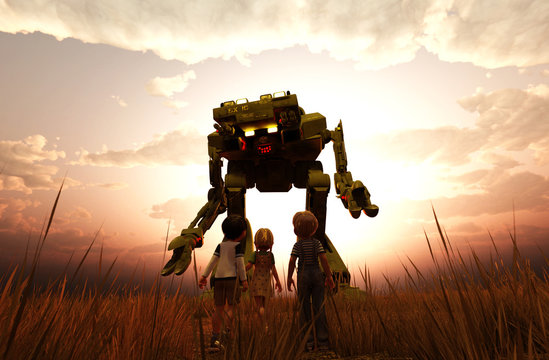 Children's looking at a giant mech in grassland,3d illustration