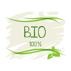 Bio healthy organic food label and high quality product badges. Eco, 100 bio and natural product icon. Emblems for cafe, packaging etc. Vector