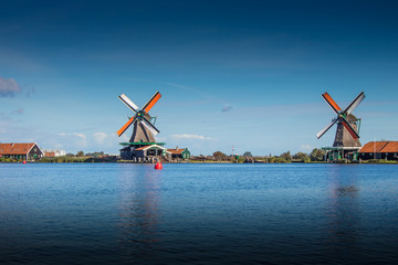 Panorama of windmills in Schans at Amsterdam, Netherlands