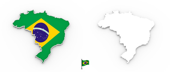 3D map of Brazil white silhouette and flag